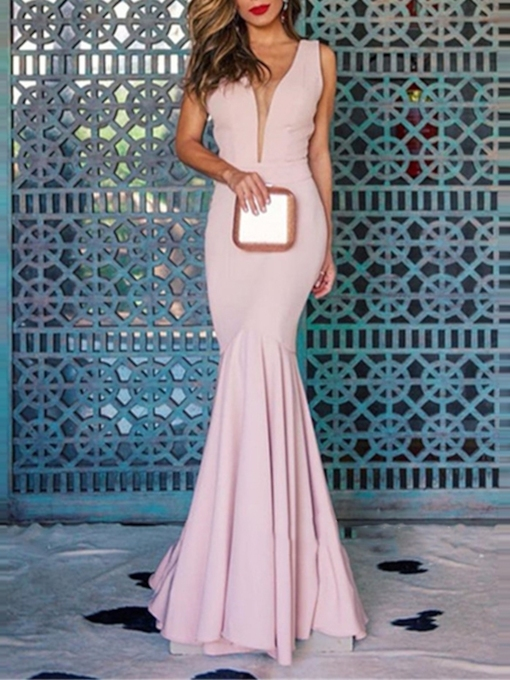Sleeveless Ruched Trumpet Floor-Length Evening Dress 2019