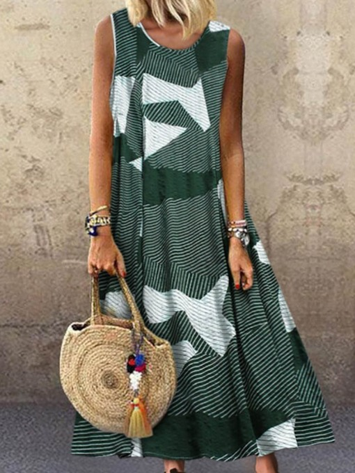 Plus Size Patchwork Sleeveless Round Neck Color Block Women's Maxi Dress