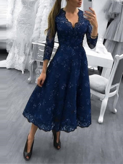 Lace Tea-Length Scalloped-Edge 3/4 Length Sleeves Evening Dress 2019