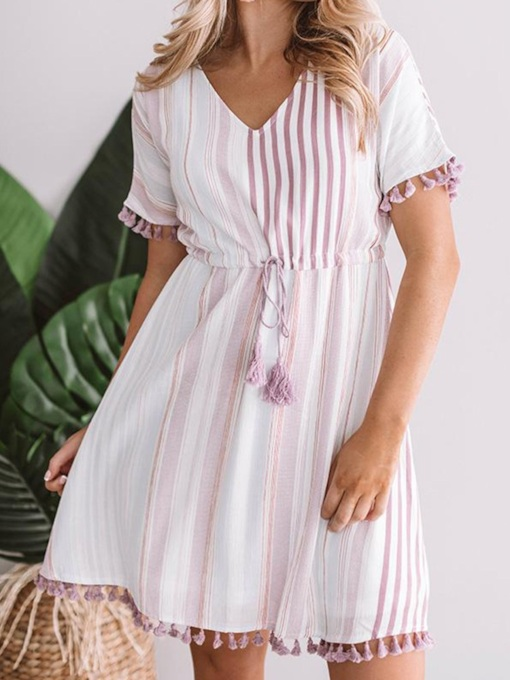 Plus Size Short Sleeve V-Neck Patchwork Casual Women's Day Dress