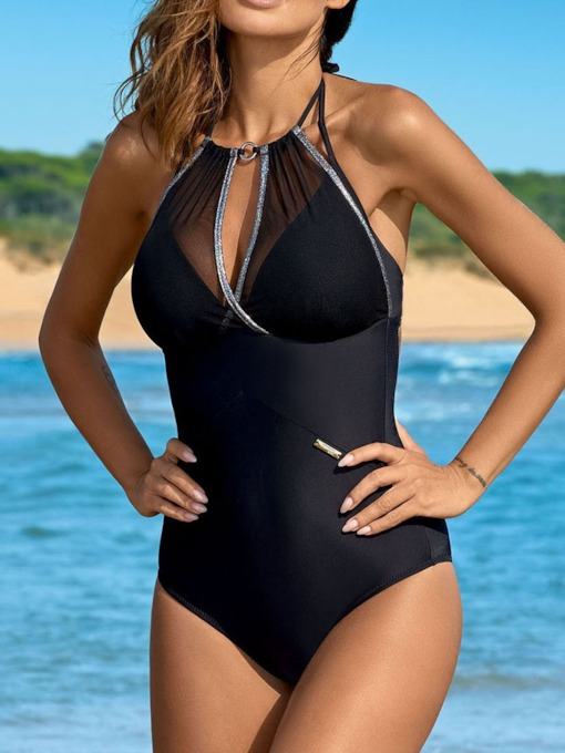 Plain One-Piece Sexy Women's Swimwear