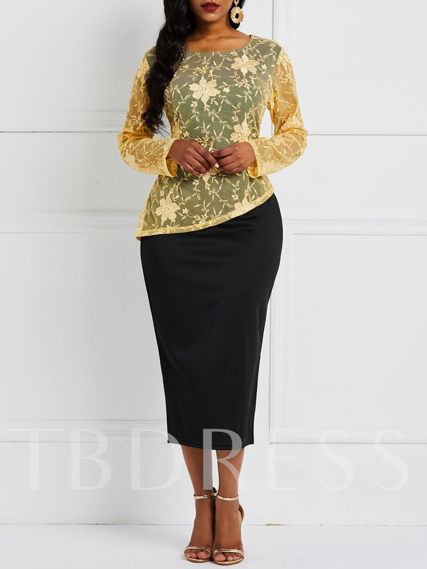 Round Neck See-Through Long Sleeve Pullover Women's Maxi Dress