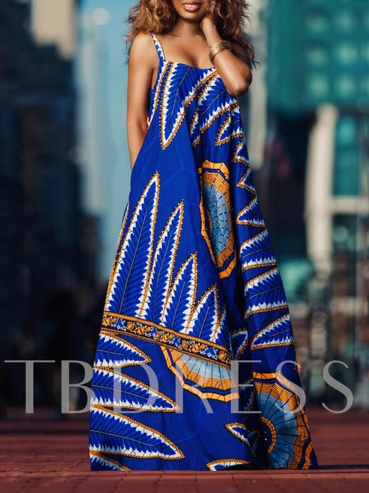 Sleeveless Floor-Length Print Pullover Women's Maxi Dress
