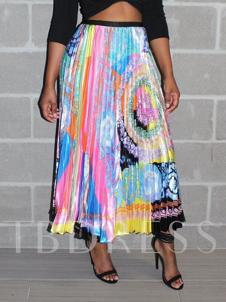 Color Block Pleated Ankle-Length Print Casual Women's Skirt