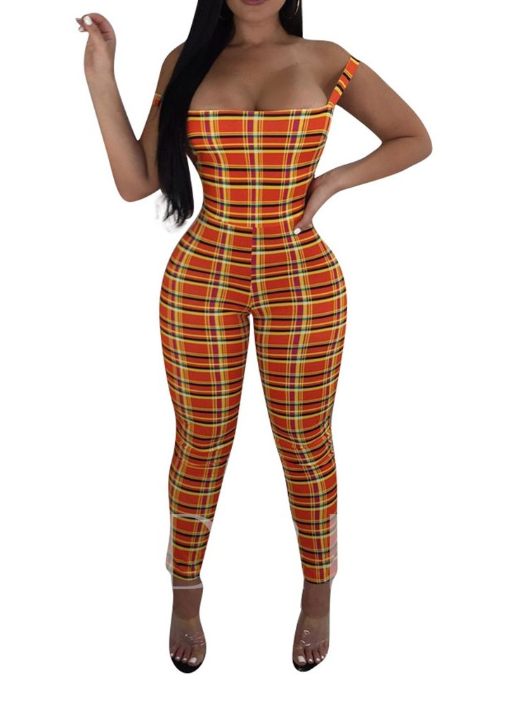 Lace-Up Plaid Western Ankle Length Skinny Women's Jumpsuit