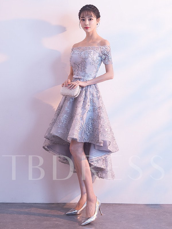 Off-The-Shoulder A-Line Asymmetry Sashes Homecoming Dress 2019