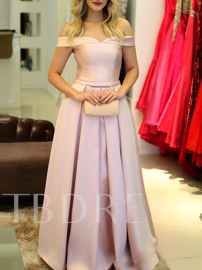 Bowknot Off-The-Shoulder A-Line Floor-Length Evening Dress 2019