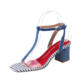 Open Toe Chunky Heel Color Block Women's Sandals