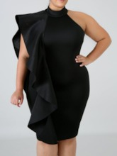 Plus Size Turtleneck One-Shoulder Women's Bodycon Dress