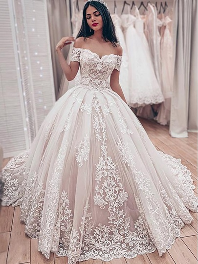 Off the Shoulder Appliques Lace-Up Ball Gown Wedding Dress 2019 Off the Shoulder Appliques Lace-Up Ball Gown Wedding Dress 2019