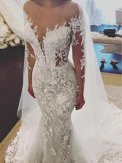 Illusion Neck Long Sleeves Beading Appliques Wedding Dress 2019 Illusion Neck Long Sleeves Beading Appliques Wedding Dress 2019