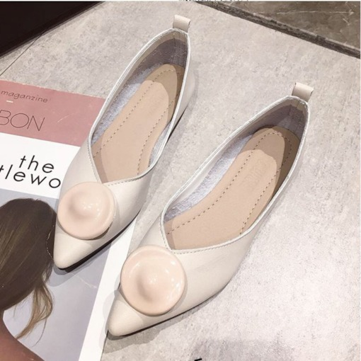 Slip-On Block Heel Pointed Toe Low Heel Women's Flats