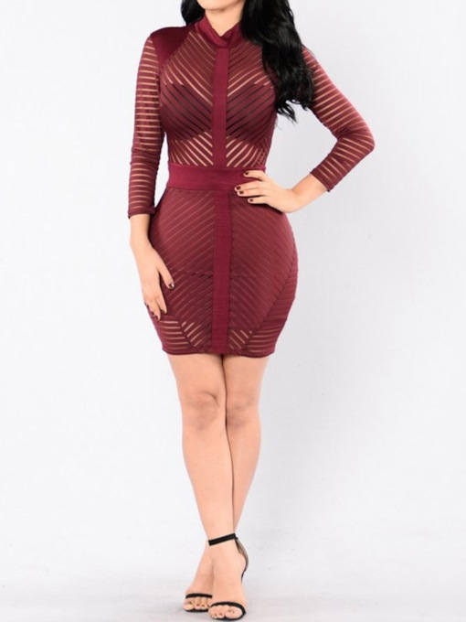 See-Through Nine Points Sleeve Stand Collar Women's Bodycon Dress
