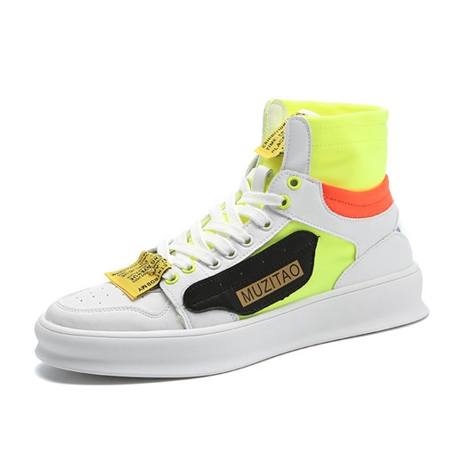 Neon High Top Lace-Up Men's Skate Shoes