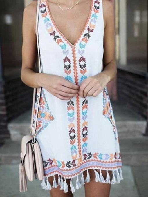 Plus Size Sleeveless V-Neck Above Knee Patchwork Casual Women's Day Dress