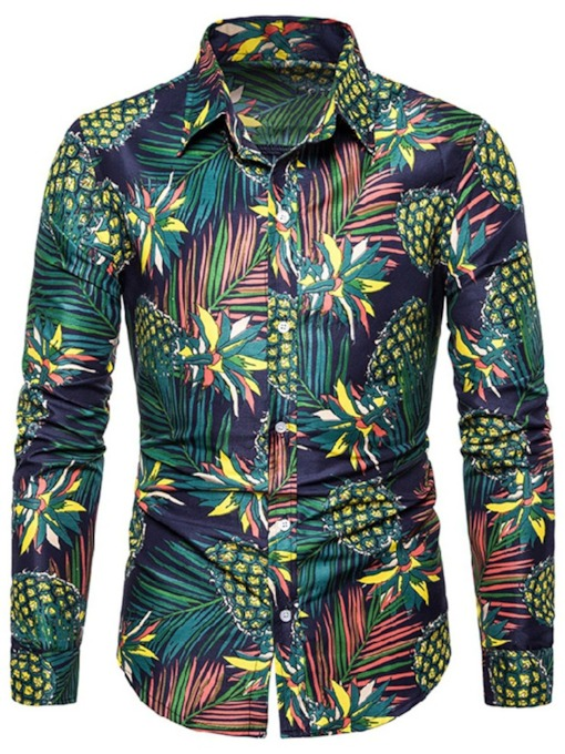 Plant Print Lapel Fashion Spring Men's Shirt