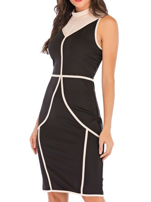 Patchwork Sleeveless Stand Collar Color Block Women's Bodycon Dress