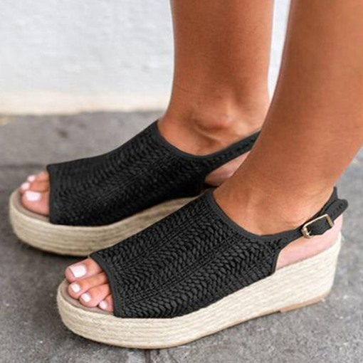 Platform Strappy Open Toe Buckle Woven Sandals