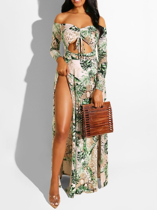 Off Shoulder Print Long Sleeve Floral Women's Maxi Dress