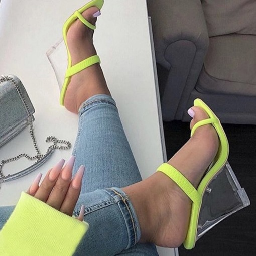 Neon Wedge Heel Slip-On Women's Slippers