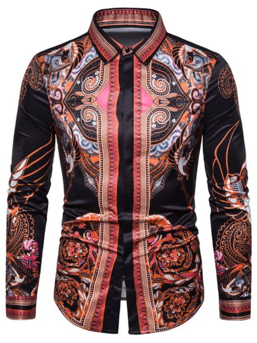 Floral Button Single-Breasted Lapel Summer Men's Shirt