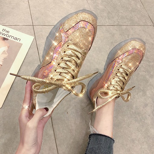 Round Toe Cross Strap Lace-Up Korean Women's Sneakers