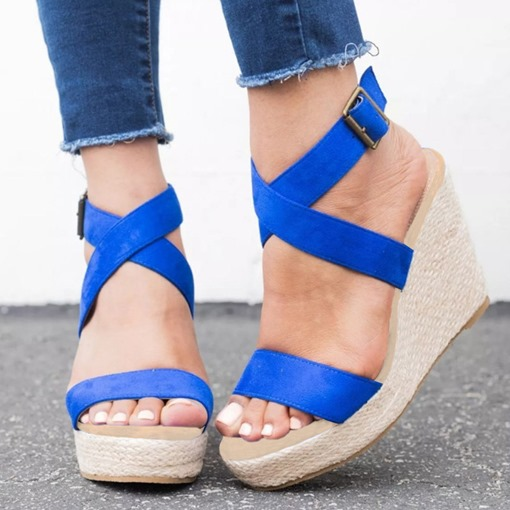 Buckle Strappy Wedge Heel Open Toe Women's Wedge Sandals