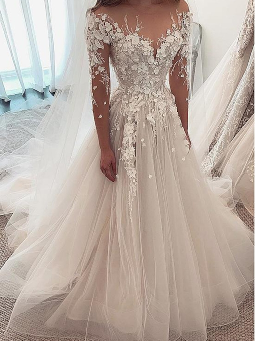 Long Sleeves Flowers Beading Wedding Dress 2019