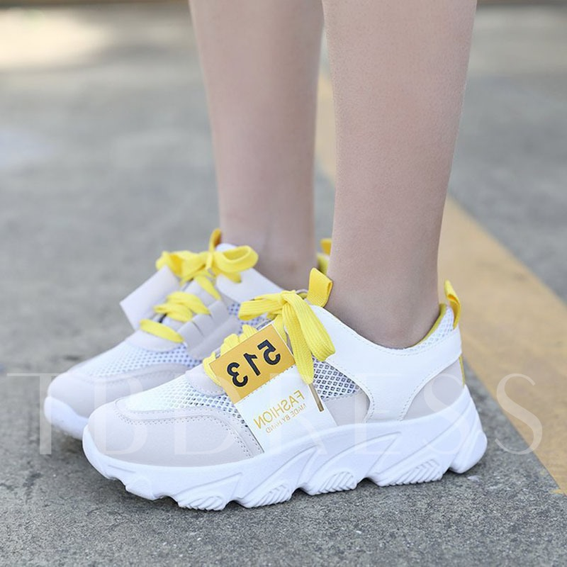 Low-Cut Upper Round Toe Lace-Up Chunky Sneakers