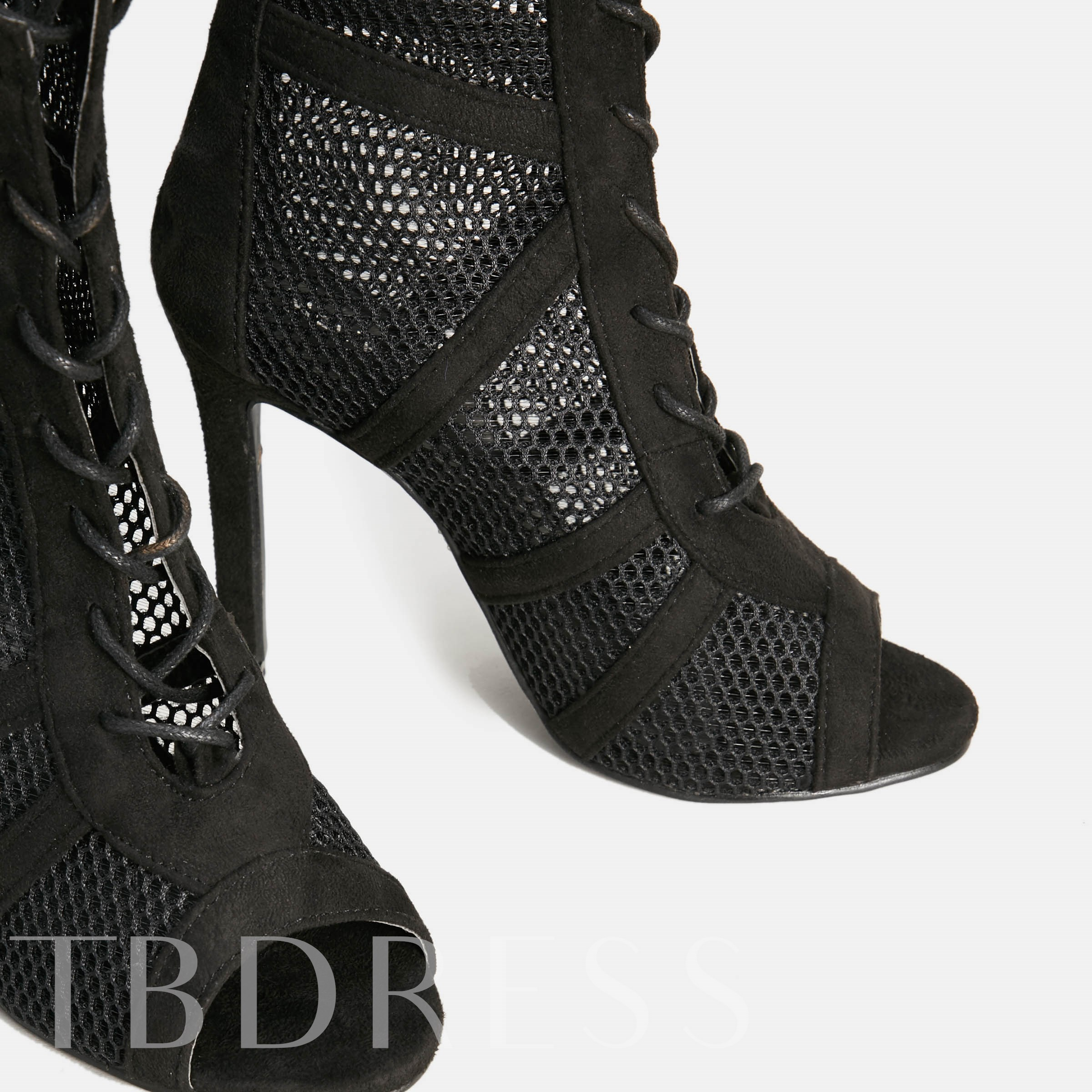 Peep Toe Plain Lace-Up Front Stiletto Heel Hollow Ankle Boots
