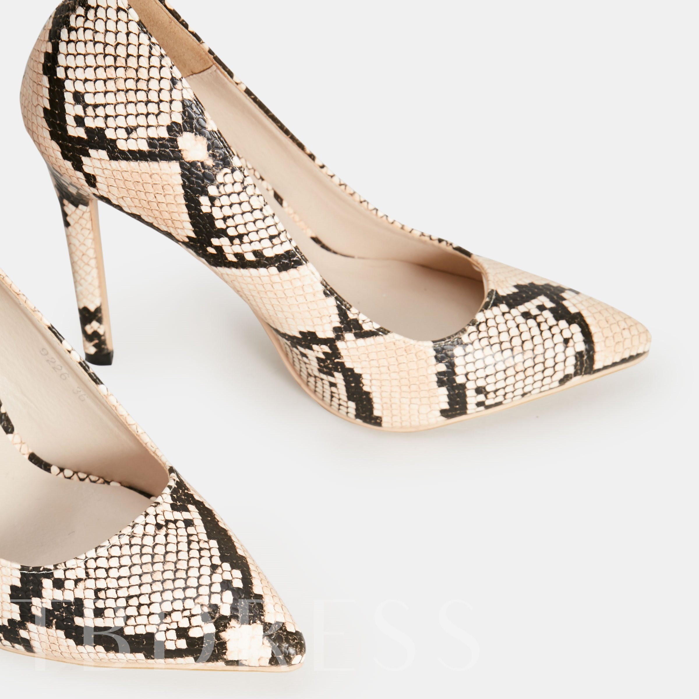 Snake Print Pointed Toe Stiletto Heel Slip-On Women's Pumps