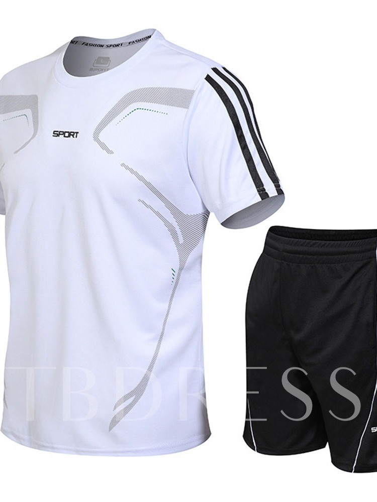 Print T-Shirt Letter Sports Summer Men's Outfit