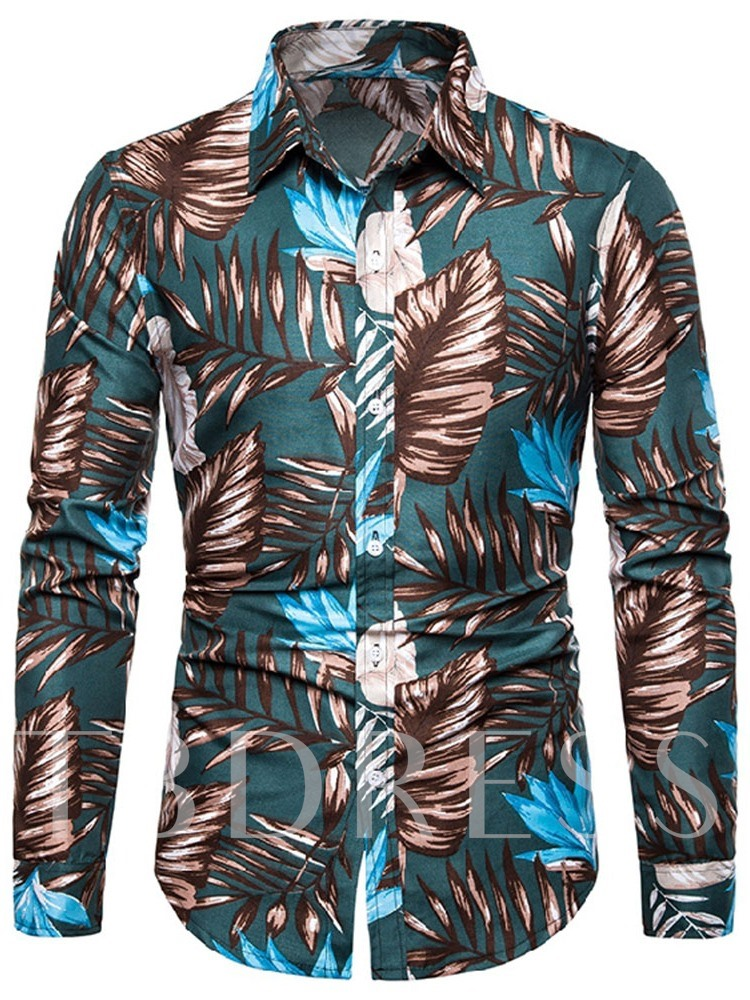 Plant Lapel Button Fashion Slim Men's Shirt