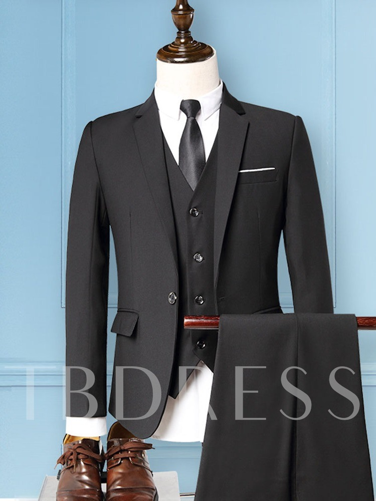 One Button Formal Pocket Plain Men's Dress Suit