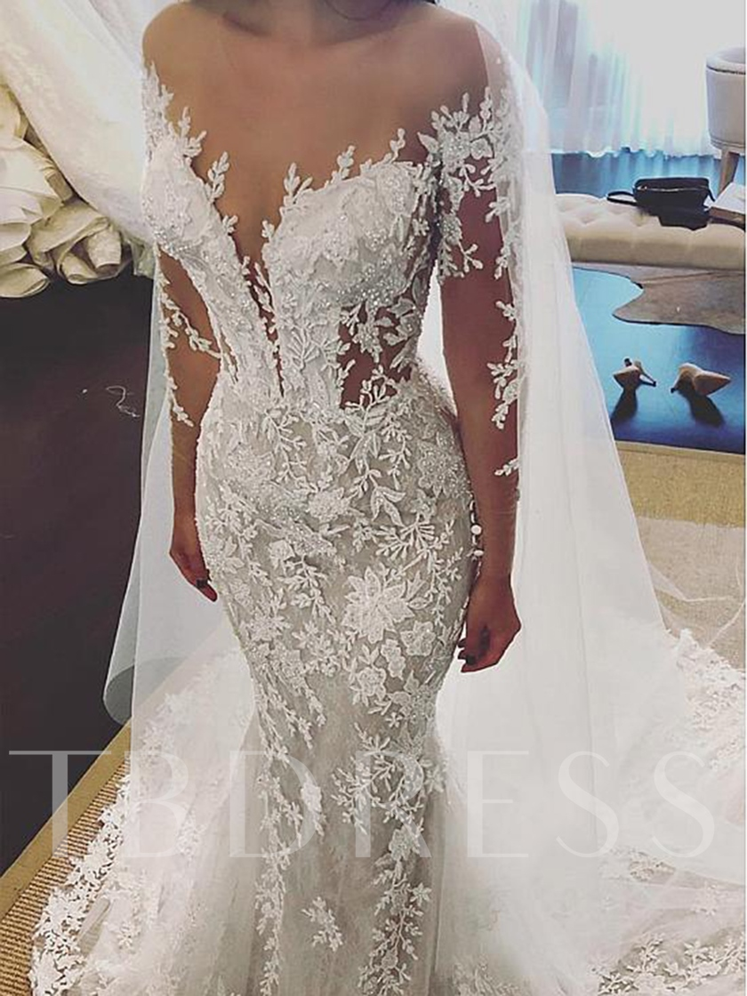 Illusion Neck Long Sleeves Beading Appliques Wedding Dress 2019