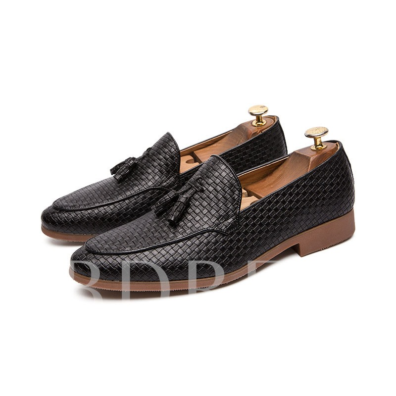 Plaid Slip-On Fringe Men's Business Shoes
