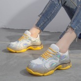 Lace-Up Candy Color Mid-Cut Upper Round Toe Mesh Sneakers