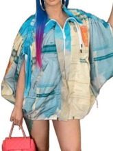 Print Mid-Length Batwing Women's Trench Coat