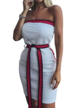Sleeveless Patchwork Color Block Women's Bodycon Dress