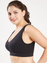 Women's Plus Size Non-Adjusted Straps Push Up Plain Sports Bra