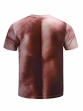 Casual Round Neck Muscle Abdominal 3D Print Short Sleeve Sexy Men's T-shirt