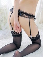 Bowknot Lace Color Block Lace Thigh-High Stocking Garters Panty