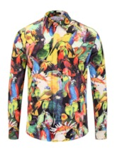 Hip Hop Casual Animal Print Patchwork Long Sleeve Lapel Fall Men's Shirt