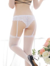 See-Through Floral Lace Thigh-High Stocking Garters 2 Pieces