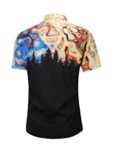 Color Block Printed Short Sleeve Shirts Lapel Fashion Single-Breasted Men's Shirt