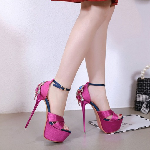 Stiletto Heel Buckle Open Toe Heel Covering Platform Sandals