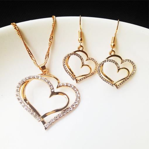 Heart-Shaped Earrings E-Plating Jewelry Sets (Wedding)