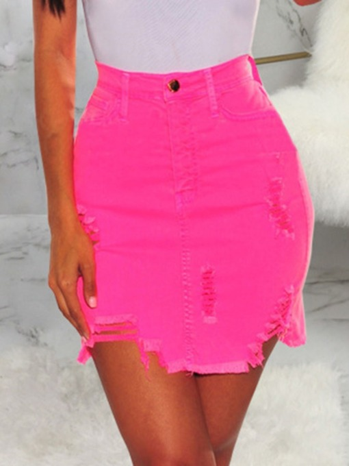 Asymmetric Mini Skirt Plain A-Line Western Women's Skirt
