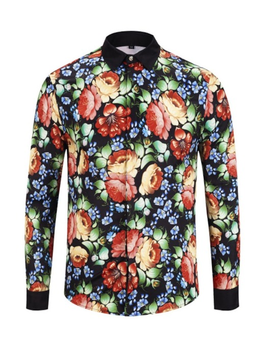 Casual Print Floral Long Sleeve Blouse Lapel Vintage Style Single-Breasted Men's Shirt