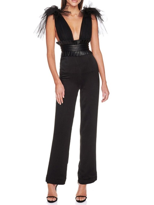 Office Lady Plain Mesh Full Length High Waist Women's Jumpsuit